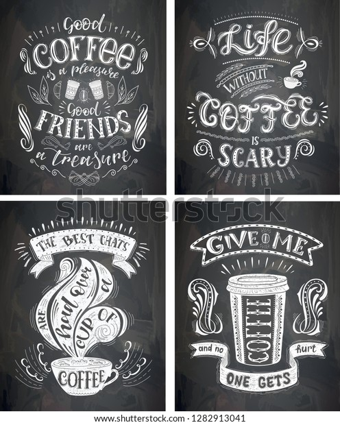 set coffee quotes on chalkboard vector stock vector royalty