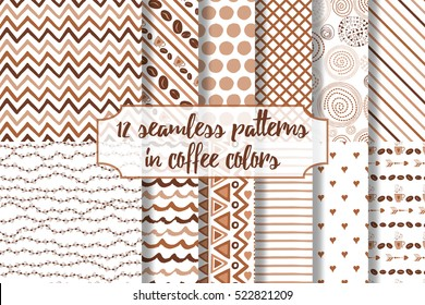 Set of coffee seamless pattern. Scrapbook elements. All patterns are included in swatch menu.