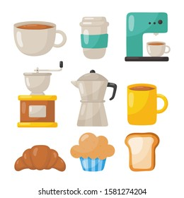 set of coffee shop icons isolated on white background. illustration vector.