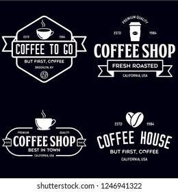 Set of Coffee shop logotype templates. Coffee related emblems labels badges signs. Coffee to go. Vector vintage illustration.