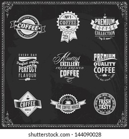 Set of coffee shop sketches and text symbols on a chalkboard