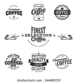 Set of coffee shop sketches and text symbols