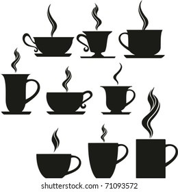 set of coffee and tea cups. Vector illustration.
