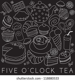 Set of coffee and tea design elements in blue color style