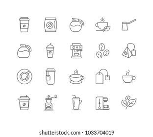Set of Coffee and Tea outline icons isolated on white background.