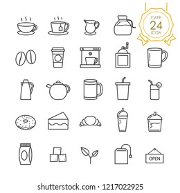 Set of coffee, tea and related in cafe line icon on white background, Vector illustration