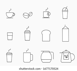 Set of coffee and tea vector line icon