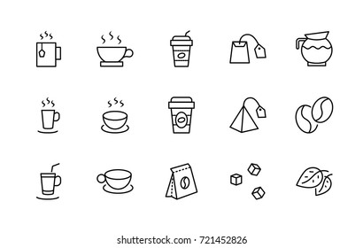Set of Coffee Tea Vector Line Icons. Contains such Icons as Cup of Tea, Plastic utensils Coffee, a Cup of Coffee with a straw, Teabags Coffee beans Green Tea Leaves Sugar. Editable Stroke. 32x32 Pixel