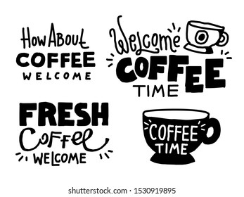 Set of coffee theme hand drawn banners, labels, inscriptions