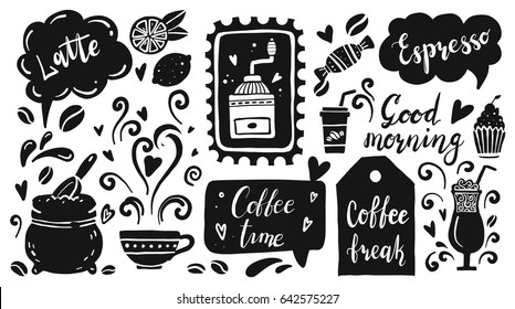 Set of coffee time elements with food, coffee beans, glass, cupcake, lettering text, cup, coffee mill. Hand drawn doodle and flat style. Vector illustration for coffee shop banner, icon, card.