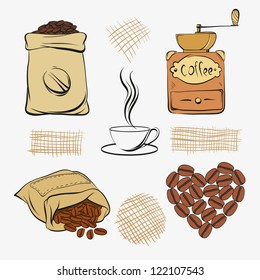 Set coffee vector illustration