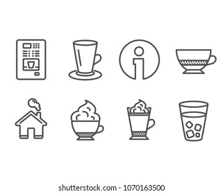 Set of Coffee vending, Teacup and Bombon coffee icons. Cappuccino cream, Ice tea signs. Tea or latte, Cafe bombon, Hot drink with whipped cream. Soda beverage.  Information and Home design elements