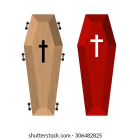 Set of coffins. Red beautiful expensive coffin and a wooden casket. Vector illustration of accessories for death.