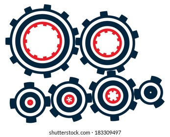 Set of cogs (gears) of different sizes