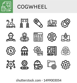 Set of cogwheel icons such as Blueprint, Manufacture, Pulley, Gear, Machinery, Cogwheel, Engineer, Settings, Configuration, Setting, Engineering , cogwheel