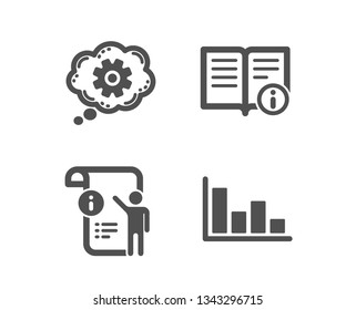 Set of Cogwheel, Technical info and Manual doc icons. Histogram sign. Engineering tool, Documentation, Project info. Economic trend.  Classic design cogwheel icon. Flat design. Vector
