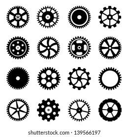 Set of cogwheels (gear wheels) isolated on white background. Vector illustration.