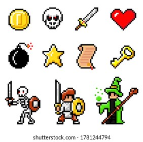 Set of coin, monster head, sword, heart, bomb, star, scroll, key, skeleton, knight with swords and shields, wizard portrait. Pixel elements, heroes 8bit objects. Videogame of 80s isolated at white