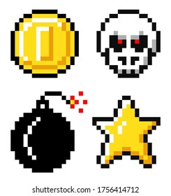 Set of coin, skeleton with red eyes, bomb, star. Pixelated vector elements, 8bit objects. Symbols for mobile, computer game, videogame of 80s isolated at white background. Pixel game, retro design