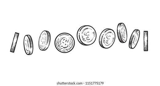 Set of coins with dollar symbol in different positions. Black and white sketch of shining metal money at different angles. Hand drawn vector illustration isolated on white background.