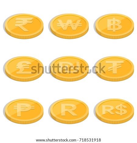 Set Coins Symbols Currencies Countries World Stock Vector Royalty