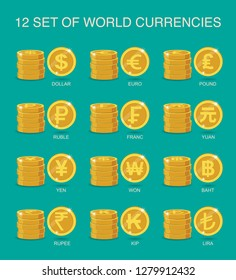set of coins world currency.  Flat Vector Illustration