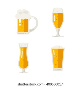 Set of cold beer icons. Vector flat illustration isolated on white background.