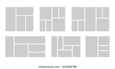 Set of collage for photos or images. Vector template empty frames. Creative mockup.
