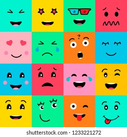 Set collection of 16 funny emotion emoji faces. Various faces on colorful background. Simple emoticons pictograms. Vector illustration EPS 10.