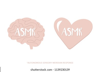 Set, collection of ASMR icons, logos in cartoon, doodle style. Concept of ASMR in heart and mind.