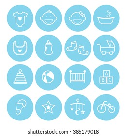 a set collection of baby icons for baby stuff