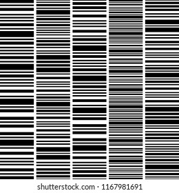 Set, collection of barcodes isolated on white background. Thin and thick horizontal stripes. Black and white line. Vector stylish background. Repeating geometric tiles.
