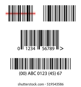 Set, collection of barcodes isolated on white background.