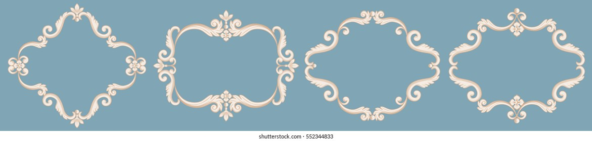 Set collection of baroque frames in beige color on blue background. Vector illustration. Can use for birthday card, wedding invitations, damask pattern, page decoration
