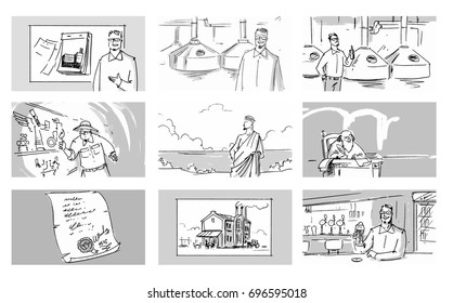 Set collection beer factory process Vector sketch for storyboard, projects, cartoon