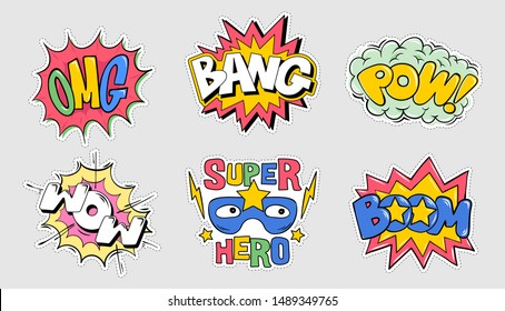 Set collection bundle of emotions comics style explosion lettering: OMG, BOOM, BANG, POW, WOW Cartoon doodle illustration for print design typography t-shirt clothes tee poster badge sticker pin patch
