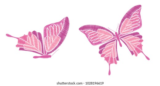 Set collection of butterflies isolated on white background. Vector illustration. Embroidery elements for patches, badges, stickers, greeting cards, patterns, t-shirts.