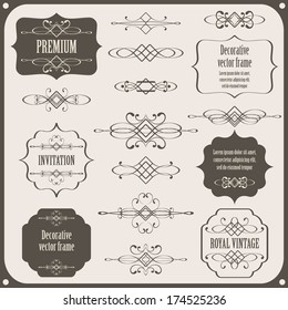set collection of calligraphic design elements, vintage borders and frames. page decorations isolated on light gray background. vector illustration