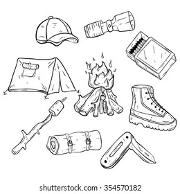 Set Or Collection Of Camping Icons Or Elements With Line Art Or Doodle Style