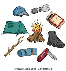 Set or Collection of Camping Icons or Elements With Color and Outline