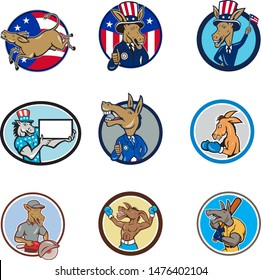 Set or collection of cartoon character mascot style illustration of a donkey, mule, horse, or jackass set inside circle with American USA stars and stripes flag on isolated white background.