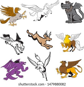 Set or collection of cartoon character mascot style illustration of legendary, mythical, mythological creature or fabulous beast  like the hipogriff, griffin, jackalope, kludde wolf and pegasus.