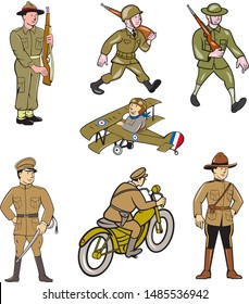 Set or collection of cartoon character mascot style illustration of World War One military soldier like the British , American, French and Japanese army on isolated white background.
