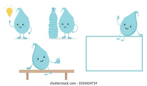 Set, collection of cartoon doodle water characters with bottle and glass of water, promoting the idea of hydrate yourself properly, do not forget about drinking water.