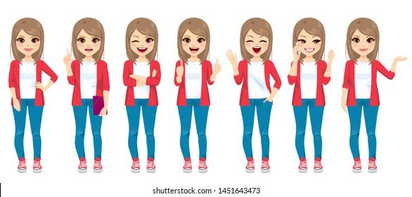 Sammlung von Teenagermädchen im Gelegenheitsmode in verschiedenen Posen, Gesichtsausdrücken und Gesten