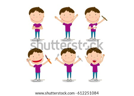 f7685e7d8 Royalty-free stock vector images ID: 612251084. Set collection children,  boy drawing, fun, happy, laughing - Vector