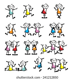 a set of collection of children stick figure