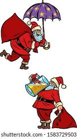 set collection Christmas Santa Claus magical and drunk Comic cartoon pop art retro vector illustration drawing