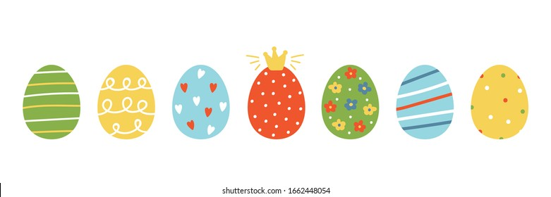 Set, collection of colorful cartoon style easter eggs with different ornaments, decorated for Easter design.