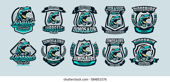 Set, a collection of colorful emblems, logos, dangerous raptor ready to attack, the sharp claws of a predator dinosaur Jurassic. Vector illustration, sporty and dynamic style, printing on T-shirts